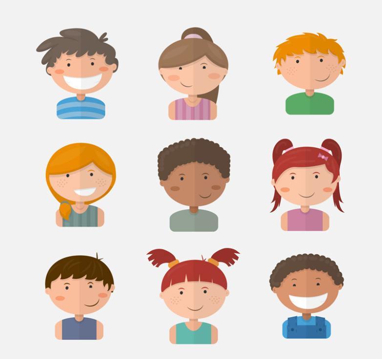 Nine New Lovely Children Vector