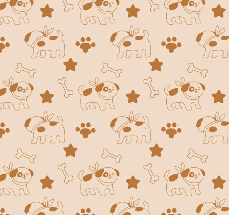Seamless Background Cartoon Dogs And A Bone Vector
