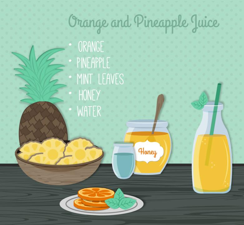 Delicious Orange And Pineapple Juice Vector