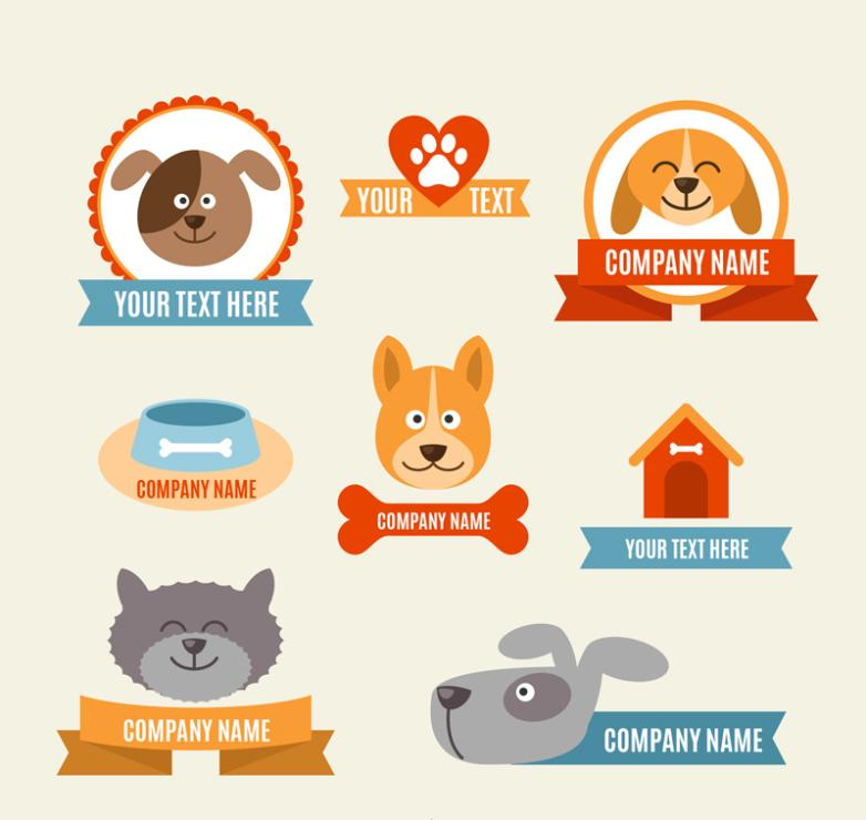 Eight Creative Pet Label Vector