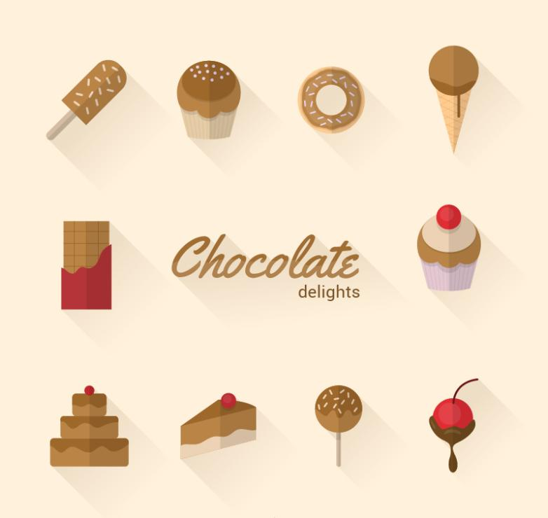10 Chocolate Sweets Icon Vector