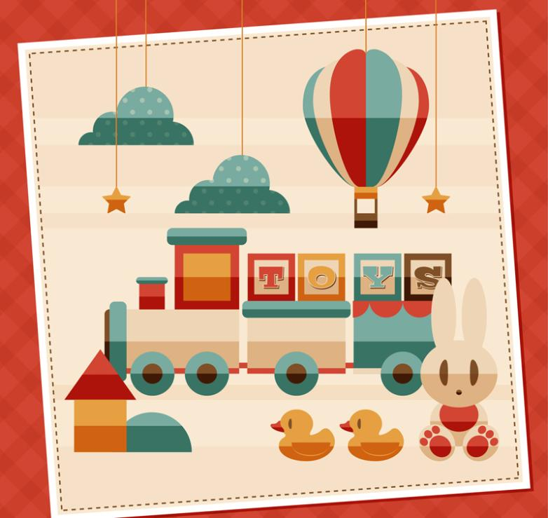 Vintage Toys Illustrated Vector