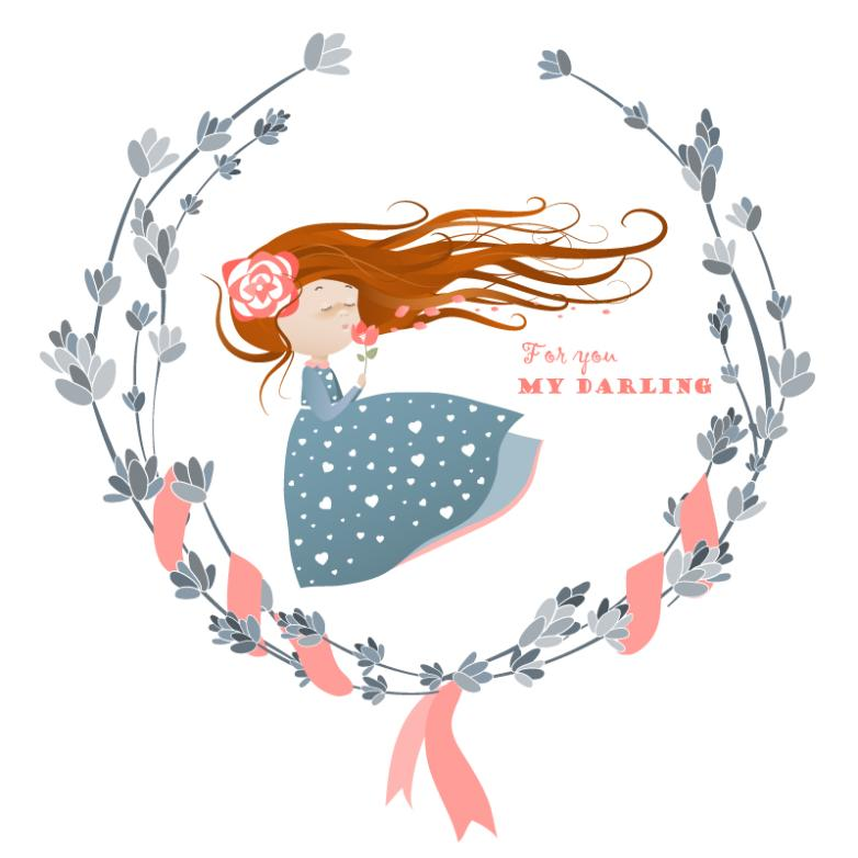 The Girl Coloured Drawing Or Pattern And The Wreath Vector