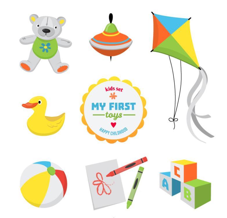 Seven New Cute Toys For Children Vector