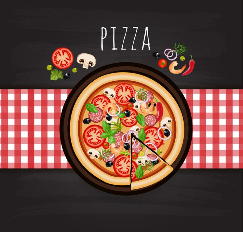 Italian Pizza Vertical View Vector