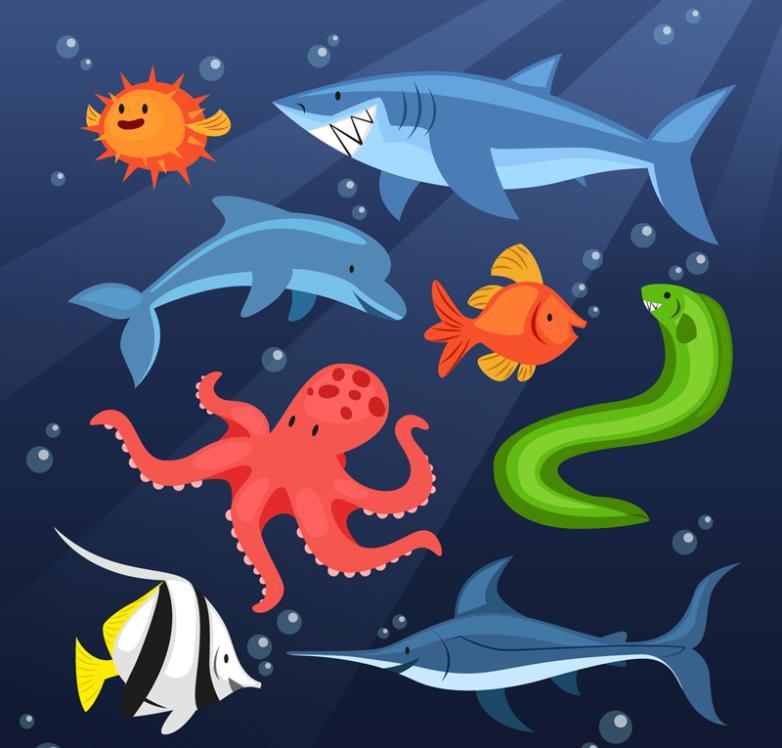 Eight Cartoon Sea Animals Vector