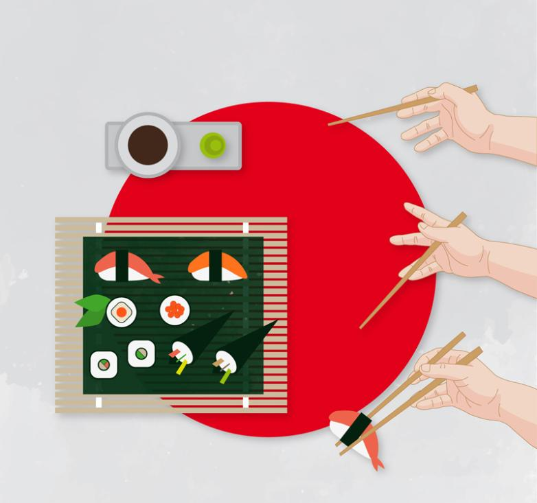 The Use Of The Japanese Cuisine And Chopsticks Vector