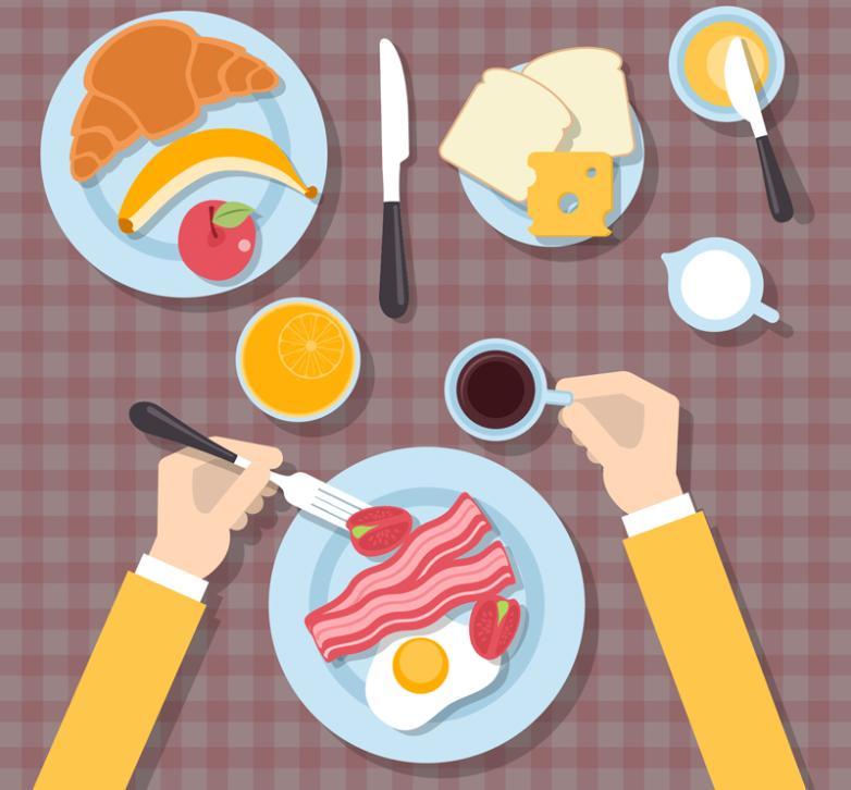 Healthy Breakfast Vertical View Vector