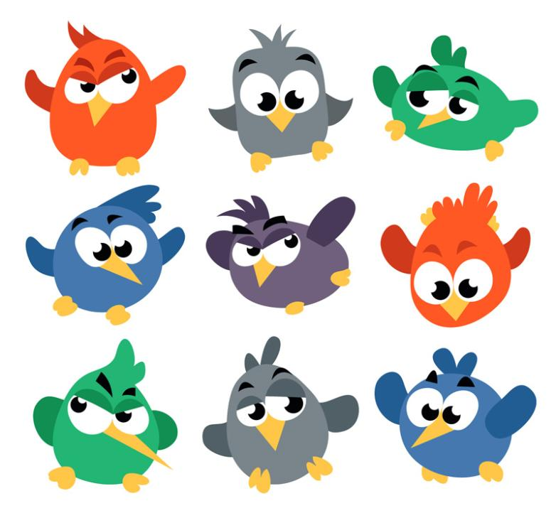 Nine New Cartoon Large Birds Vector