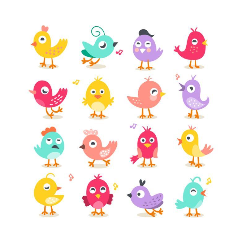 16 Cartoon Birds Vector