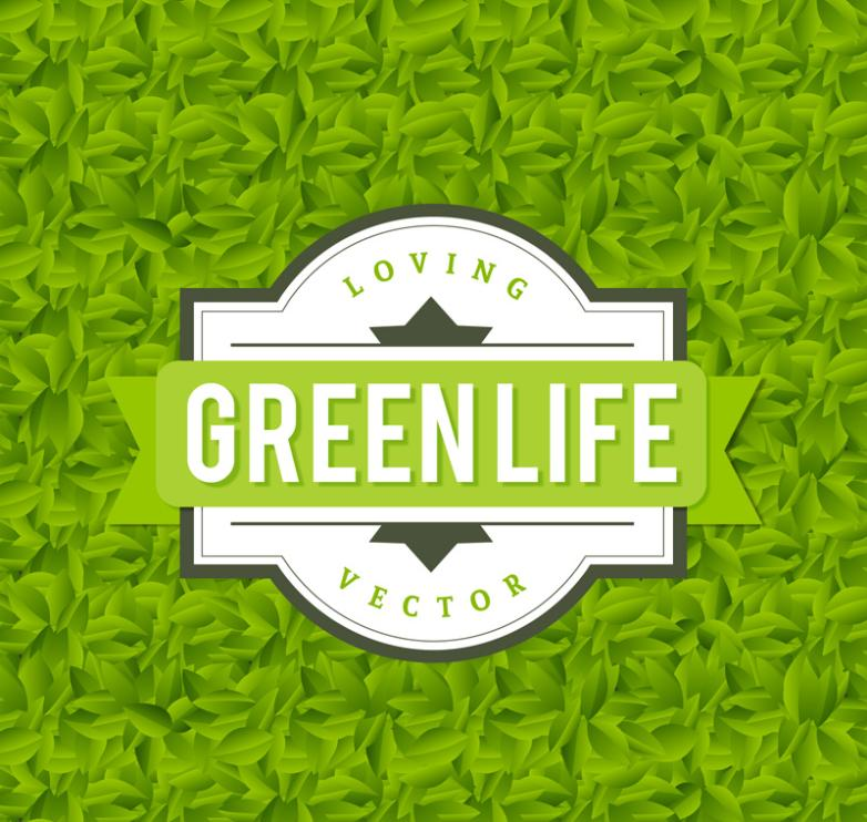 Creative Life Leaves Green Background Vector