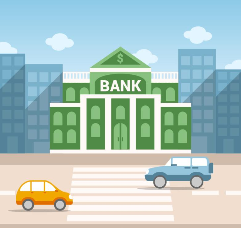 Street Bank Buildings Vector