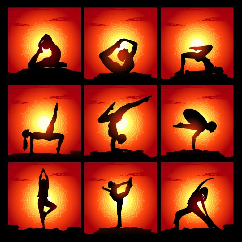 Nine Yoga Silhouette Vector