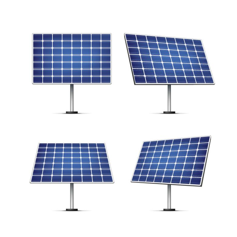 4 Blue Solar Panels Vector
