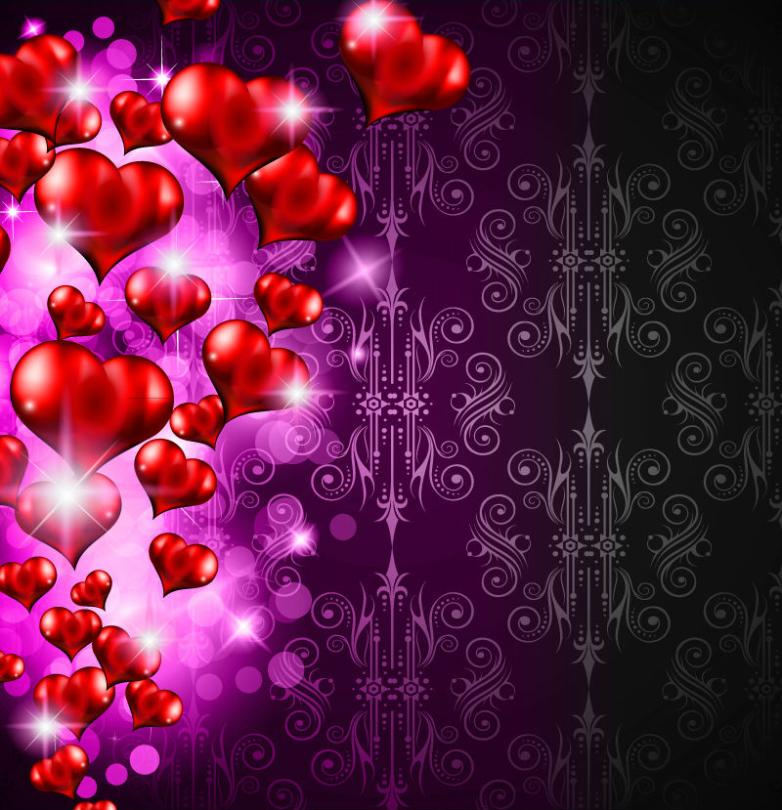 Exquisite Three-dimensional Love Red Background Vector