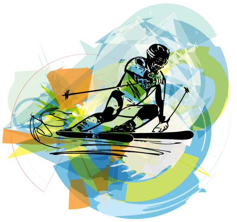 Creative Character Design Double Plate Skiing Vector