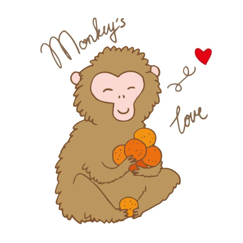 Holding The Cute Monkey Design Of Fruit Vector