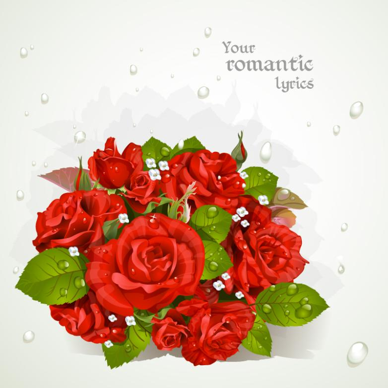 With A Bouquet Of Red Roses Drip Greeting Card Vector