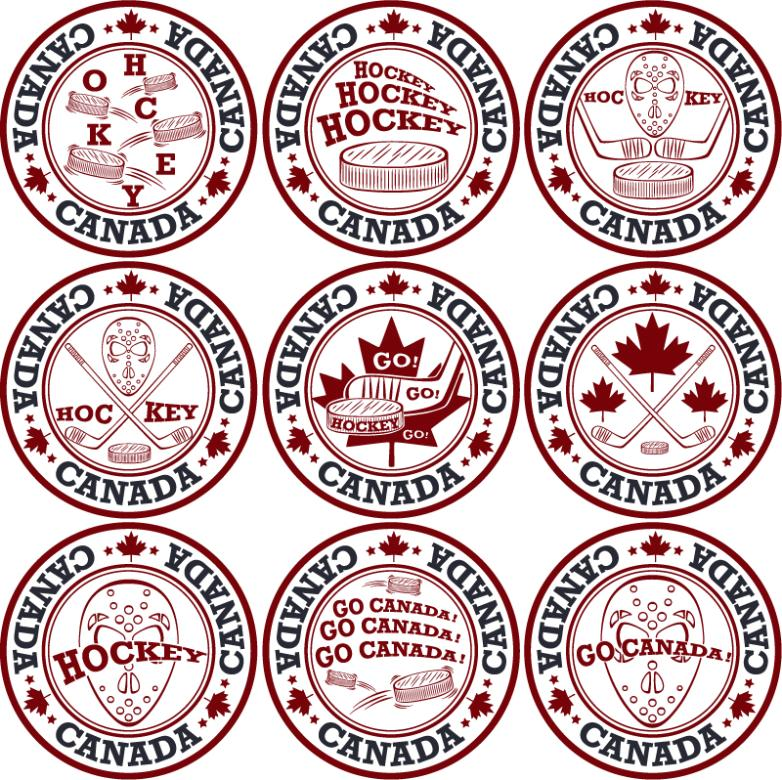 Nine New Canadian Hockey Label Vector