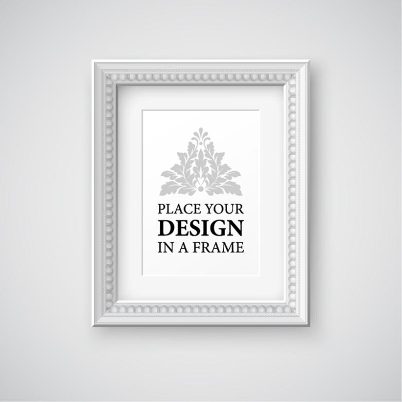 White Pattern Frame Design Vector