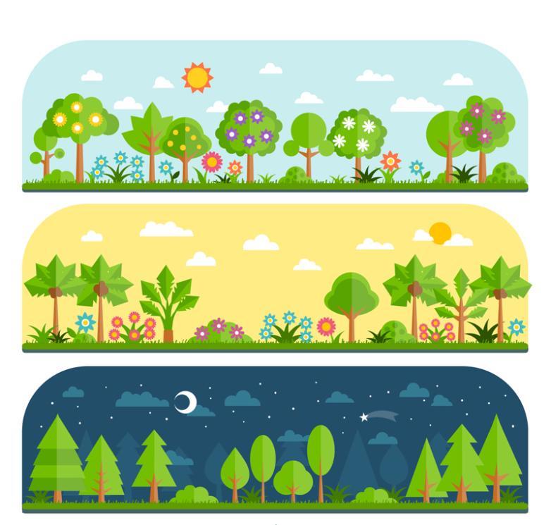 Three Groups Of Cartoon Green Woods Vector