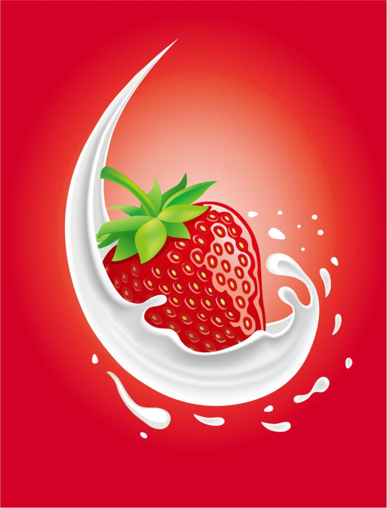 Splash Milk And Strawberry Vector