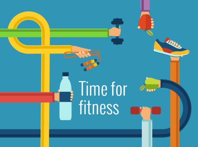 Creative Fitness Time Illustrations Vector