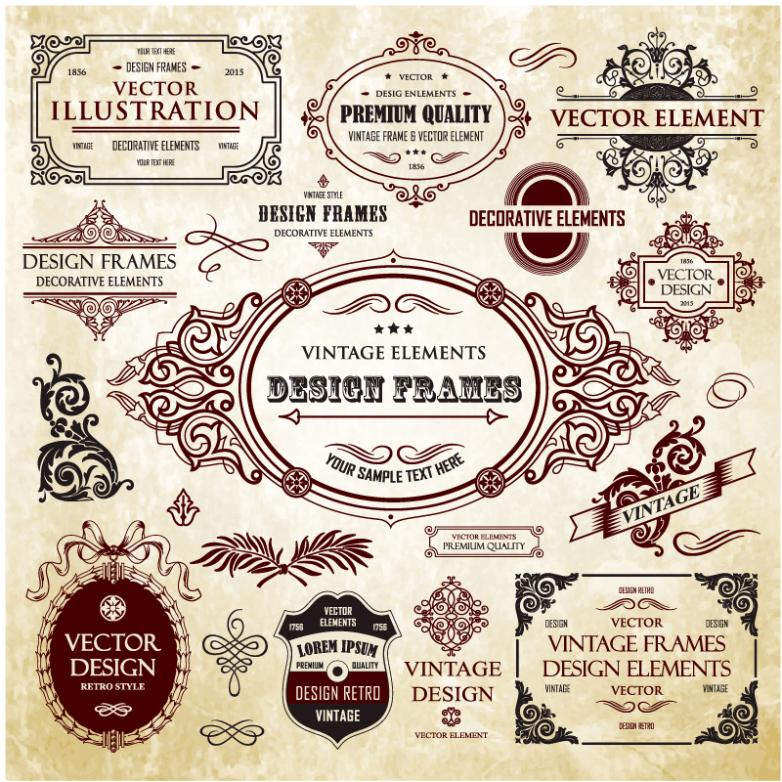 15 Label Classical Decorative Pattern Vector