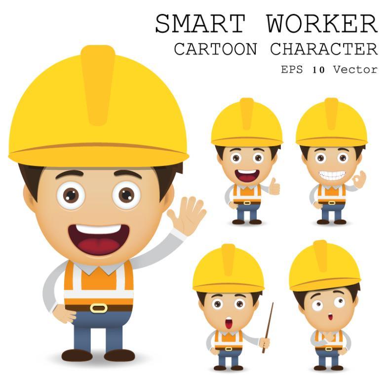 Five Cute Cartoon Workers Vector