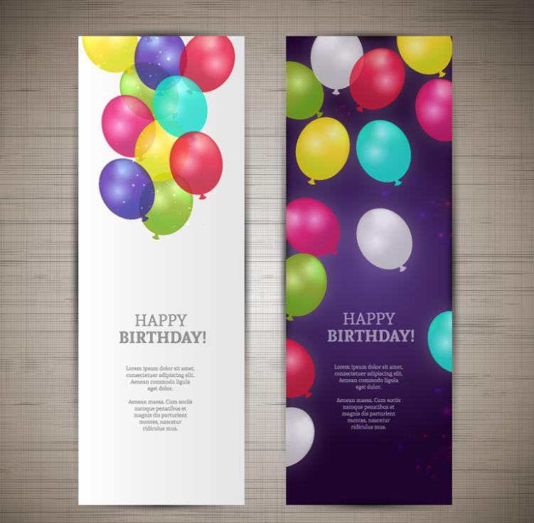 Color Birthday Balloon Banner Vector