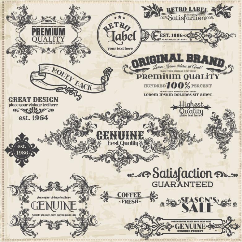 15 Retro Pattern Label Vector