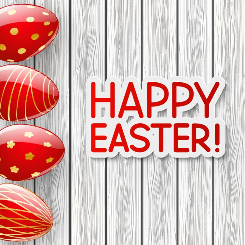 Easter Eggs Red Card Vector