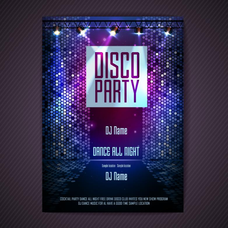 Disco Poster Design Vector
