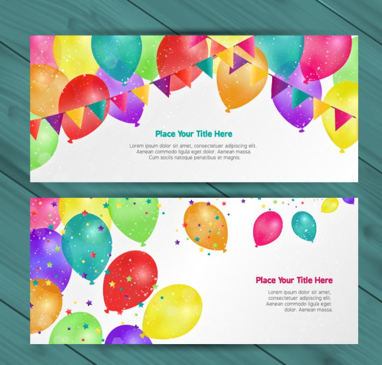 2 Or More Colorful Balloon Banner Vector