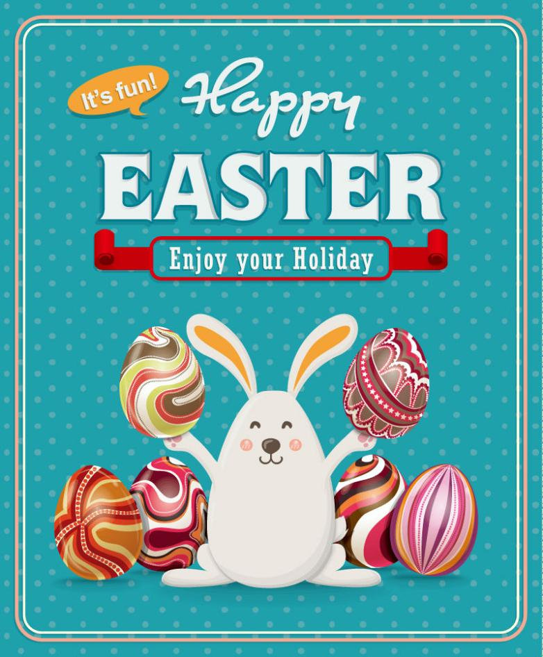 Easter Eggs And Rabbits Vector