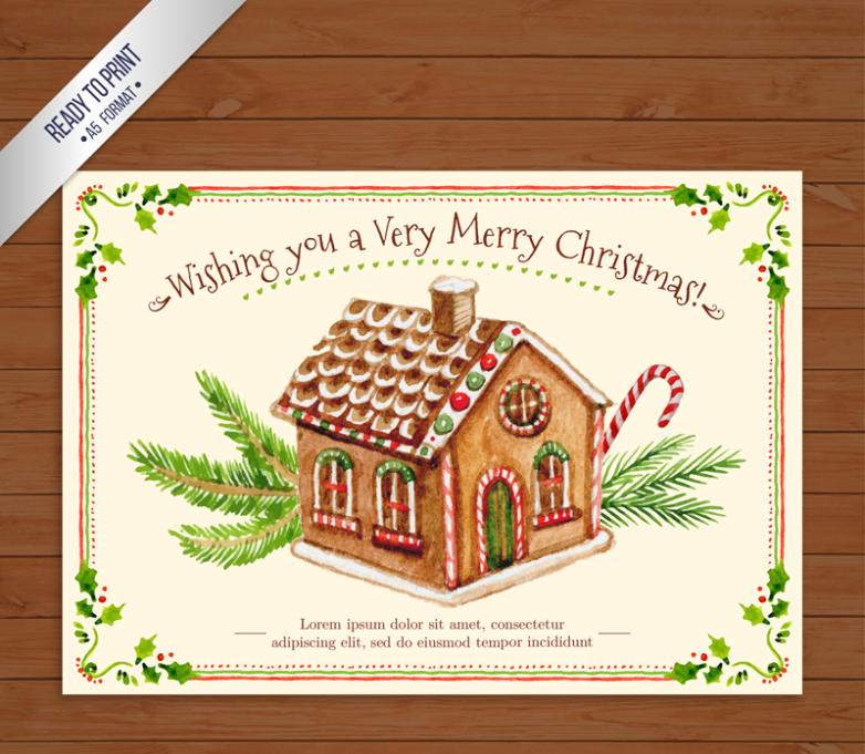 Watercolor Candy House Christmas Card Vector
