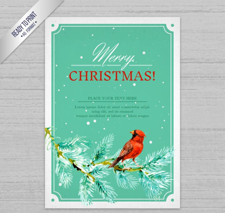 The Branches Of The Red Bird Christmas Card Vector