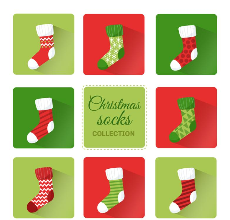 Eight Color Christmas Stockings Vector