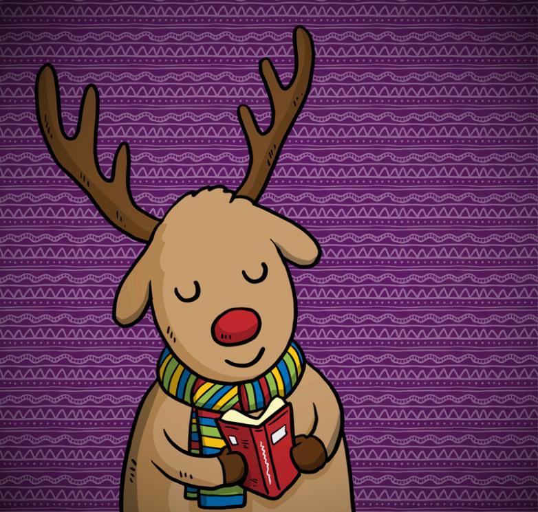 Cartoon Book Of Reindeer Vector