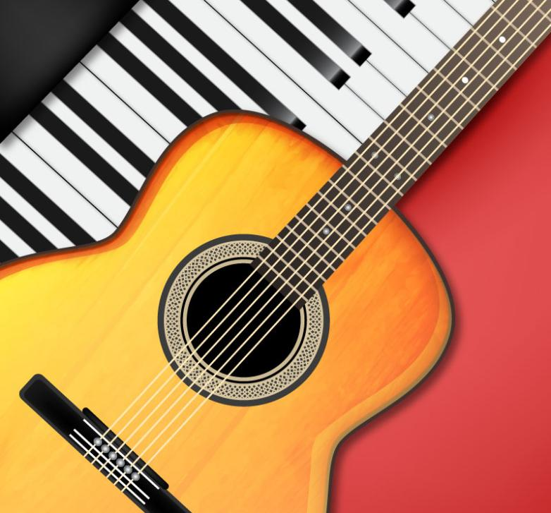 The Piano Keyboard And Guitar Vector