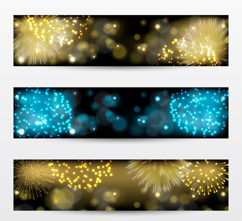 Three Color Fireworks Banner Vector