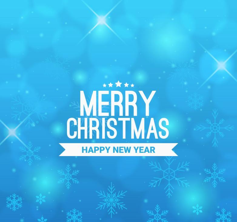 Blue Snow Christmas Card Vector