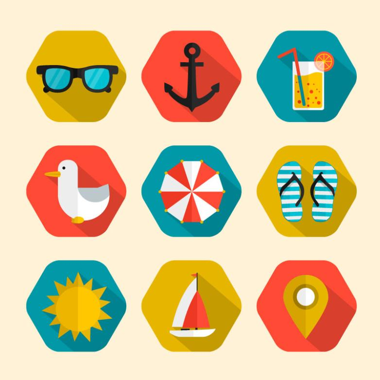 Paragraph 9 Hexagonal Holiday Icons Vector