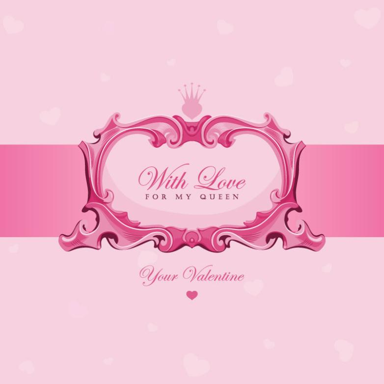 Pink Valentine's Day Cards Vector