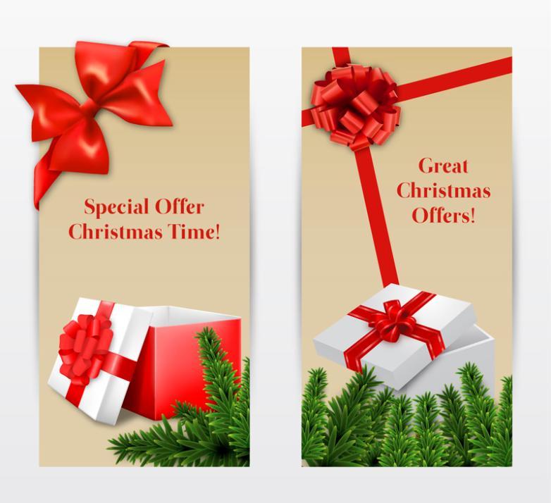 Paragraph 2 Holiday Gift Box Banner Vector