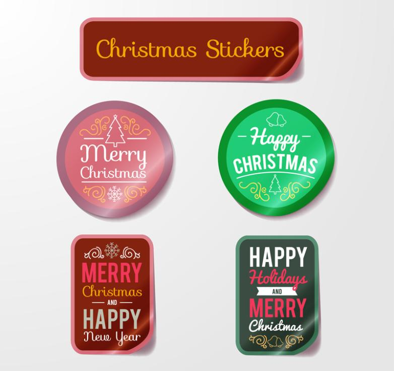 5 Color Label On Christmas Day Vector