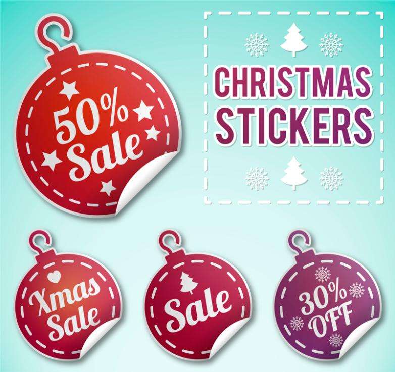 4 Christmas Discount Stickers Vector