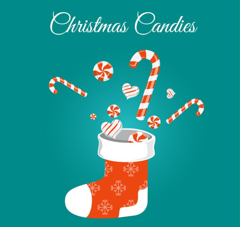 Christmas Stockings And Candy Vector
