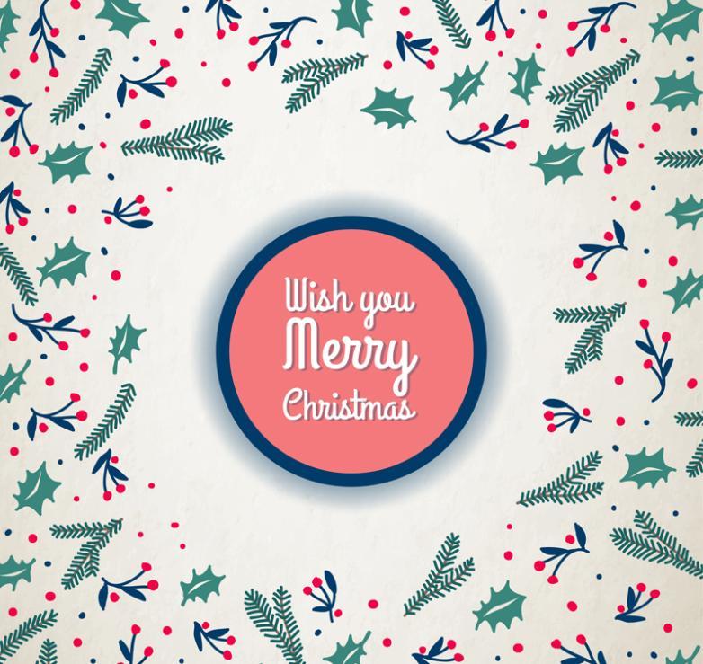 Christmas Greeting Card Plant Vector
