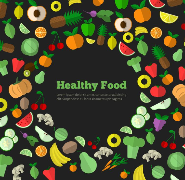Healthy Food Vegetable Fruit Design Vector